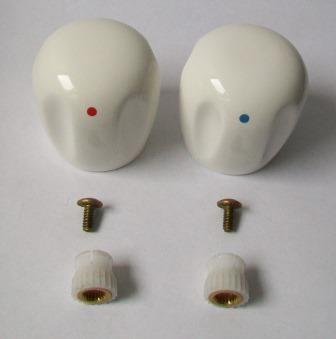 White Ceramic Handle Replacement Tap Heads Pack Of 2